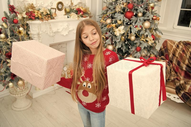 Child enjoy the holiday. The morning before Xmas. Little girl. Christmas tree and presents. For Santa. Happy new year. Winter. xmas online shopping. Family royalty free stock image
