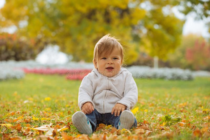 Child enjoying autumn time royalty free stock photos