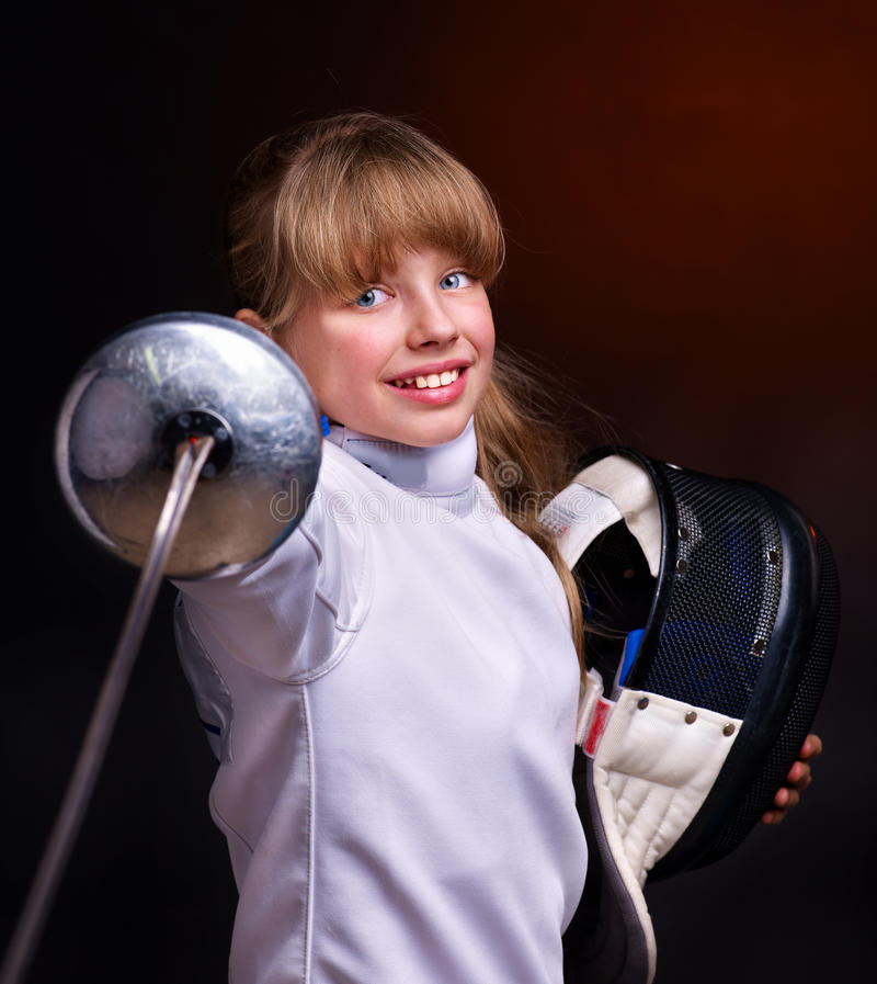 Free Child Epee Fencing Lunge. Royalty Free Stock Image - 22034876