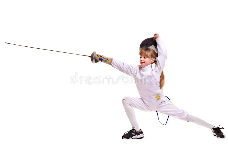 Child epee fencing lunge. stock photography