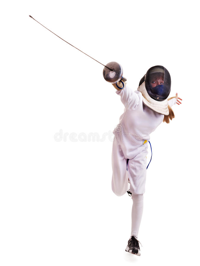 Free Child Epee Fencing Lunge. Royalty Free Stock Photos - 24154018