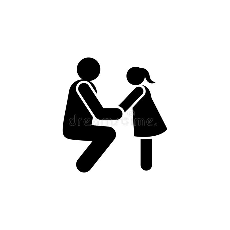 Child, explain, father, positive icon. Element of positive parenting icon. Premium quality graphic design icon. Signs and symbols. Collection icon for websites royalty free illustration
