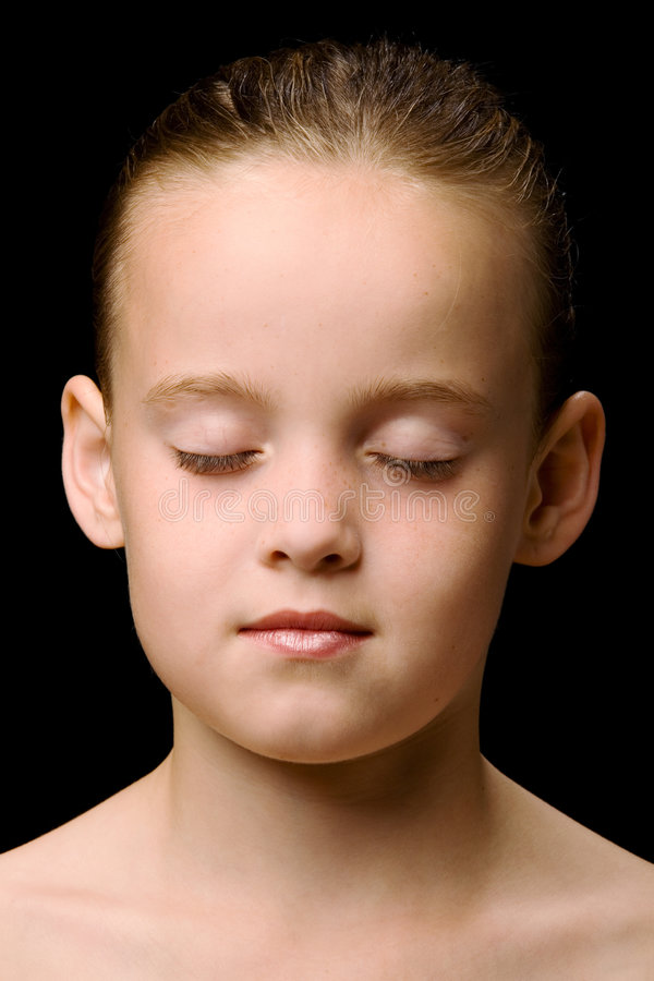 Child with eyes closed stock photos