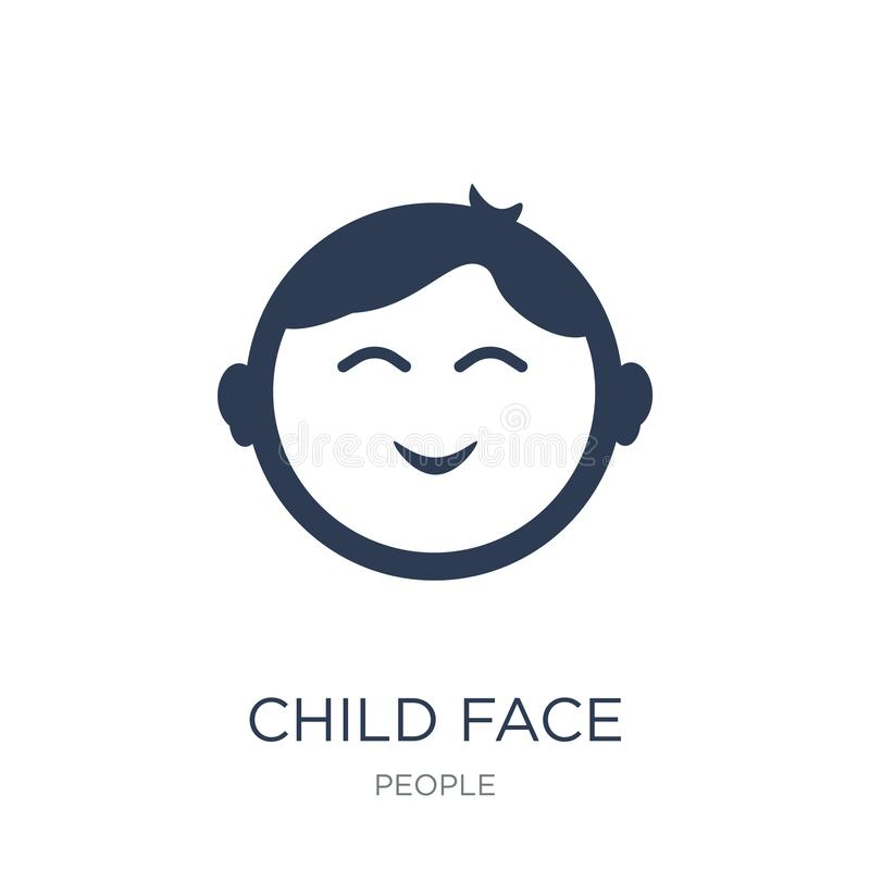 Child face icon. Trendy flat vector Child face icon on white background from People collection. Vector illustration can be use for web and mobile, eps10 stock illustration