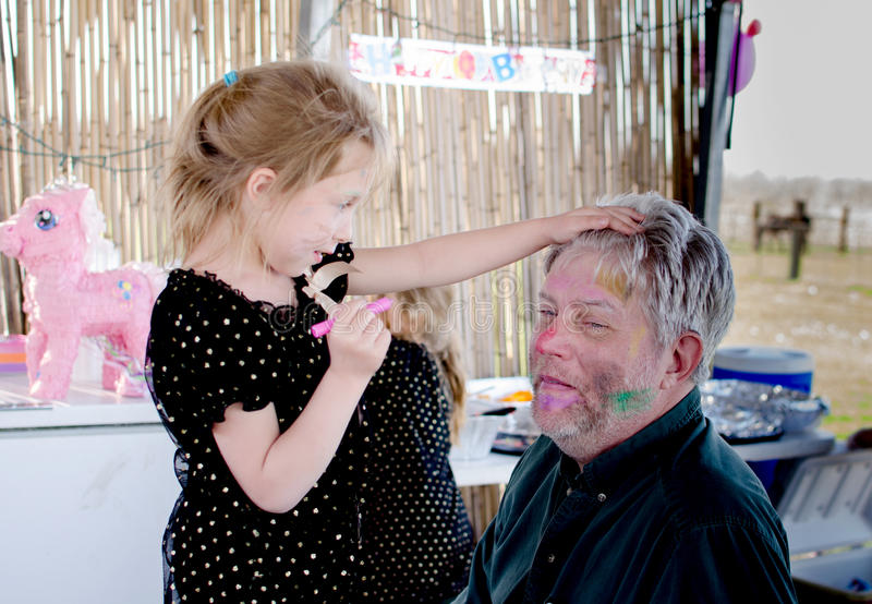 Child Face painting grandpa royalty free stock photos