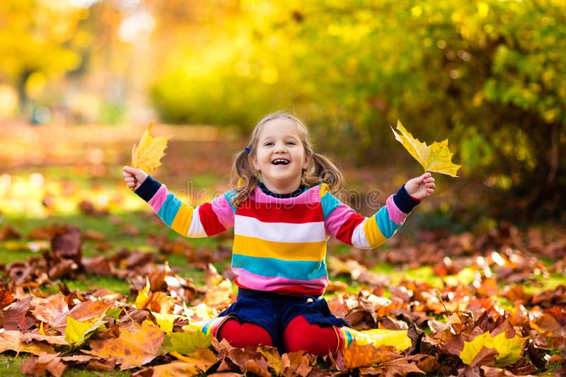 Child in fall park. Kid with autumn leaves royalty free stock image