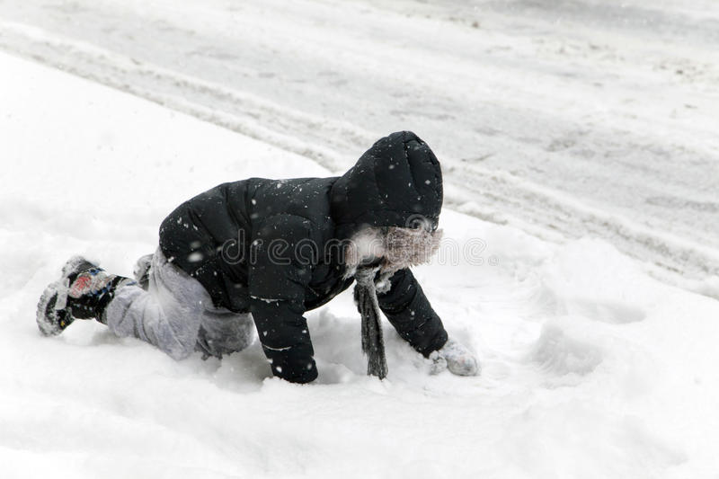Download Child Falls During Snow Storm In New York Editorial Stock Photo - Image: 37610868