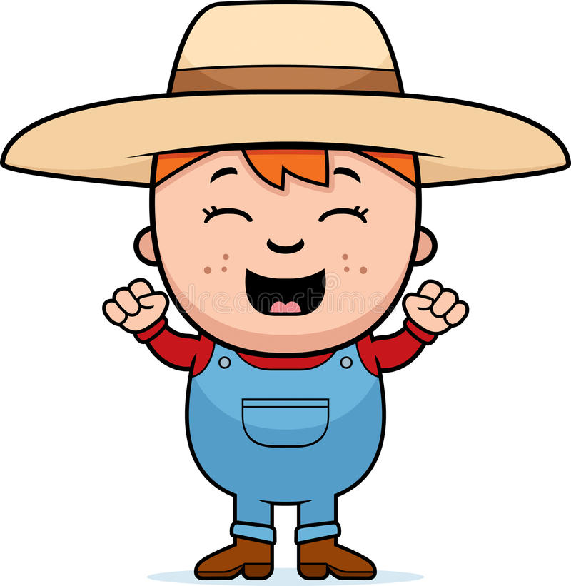 Child Farmer Excited Stock Vector. Illustration Of