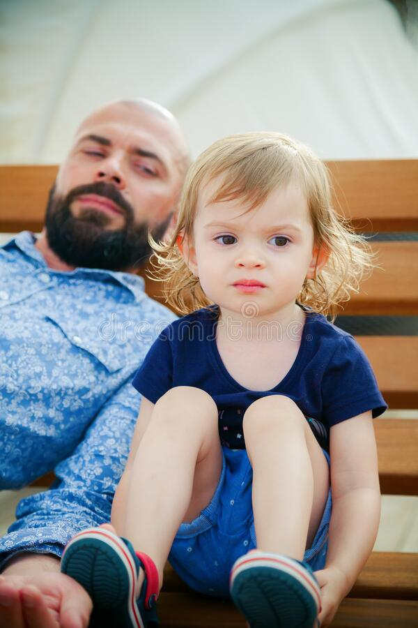Child and father conflict concept stock image