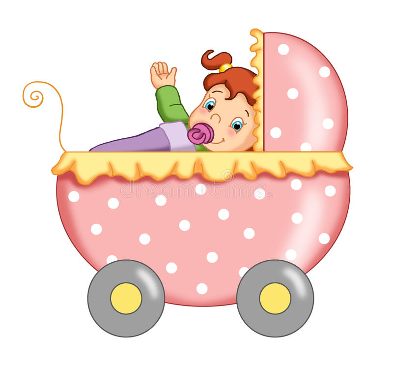 Child female with the stroller vector illustration
