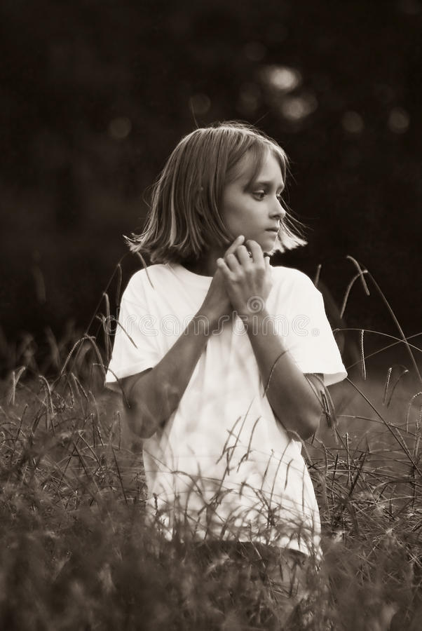 Download Child in the fields - BW stock photo. Image of girl, outdoor - 12674704