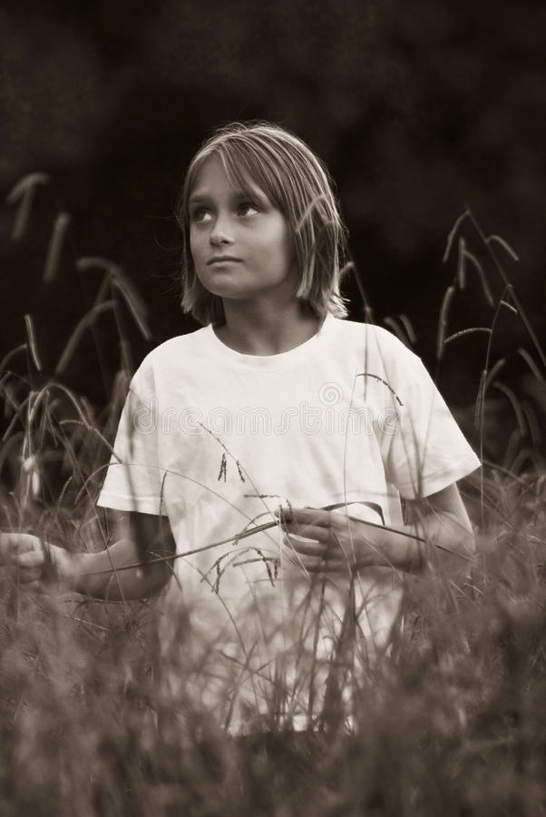 Download Child In The Fields - BW Stock Image - Image: 12715941