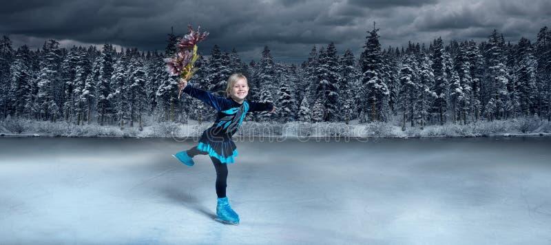 Child  figure skater on winter lake  background royalty free stock photo