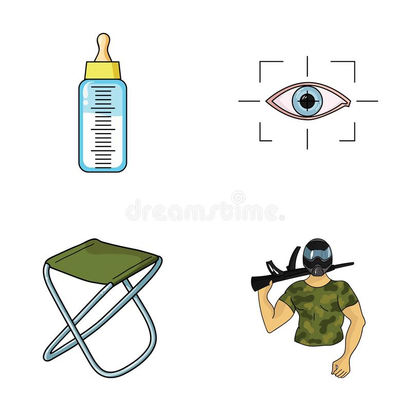 Child, fishing and other web icon in cartoon style.technology, army icons in set collection. Child, fishing and other icon in cartoon style.technology, army stock illustration