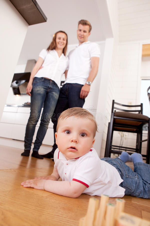 Child on Floor at Home royalty free stock photography
