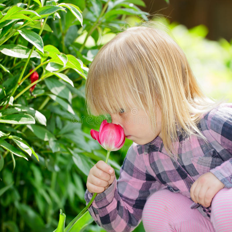 Child With Flower Stock Photos