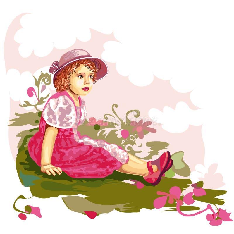 Child on flower meadow stock illustration