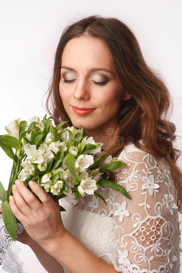 Download Child of the flowers stock image. Image of evening, hairstyle - 28003963