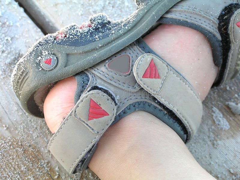 Download Child foot in sandal stock image. Image of seasonal, triangle - 187195