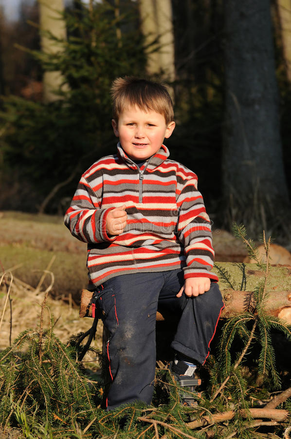 Child in forest stock image