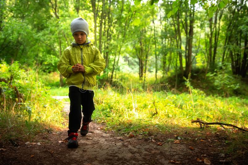 Child in forest park alone royalty free stock photo