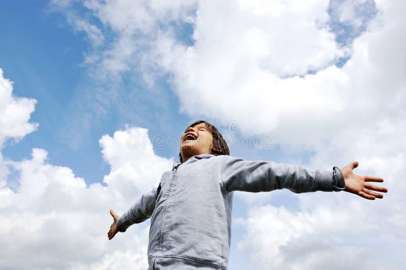 Child, freedom, breathing fresh air royalty free stock photos