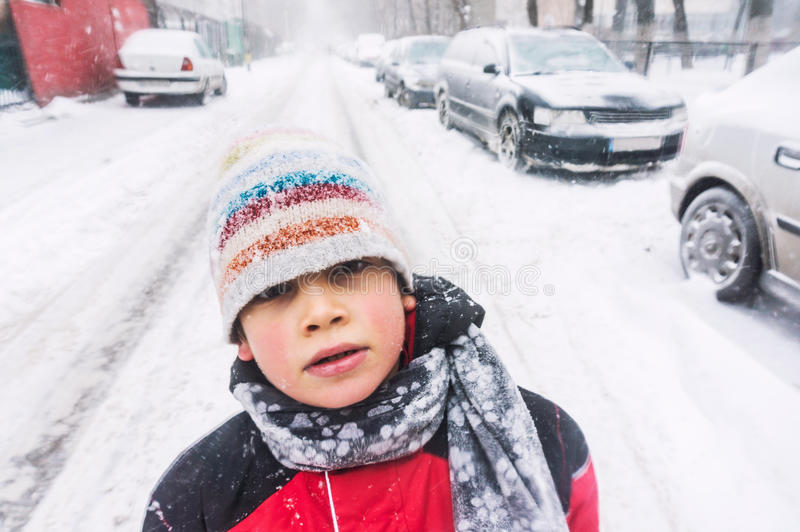 Child in freezing cold weather stock images