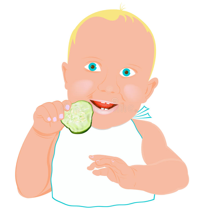 Download Child And Fresh Green Young Cucumber Stock Illustration - Image: 29803601