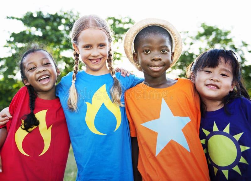 Child Friends Boys Girls Playful Nature Offspring Concept stock photo