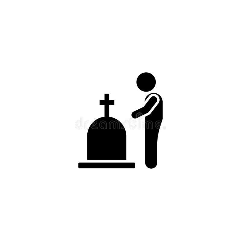 Child funeral grave icon. Element of pictogram death illustration.  vector illustration