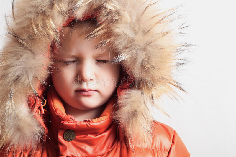 Child In Fur Hood And Orange Winter Jacket Fashion Kid