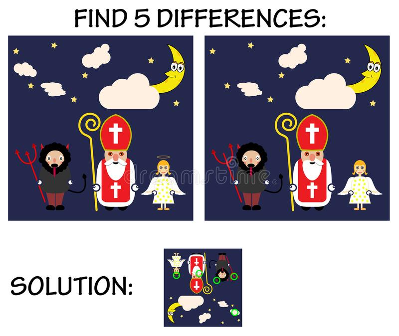 Child game - find 5 differences in pictures, with solution, Cute cartoon greeting card with Saint Nicholas, angel and devil cha. vector illustration