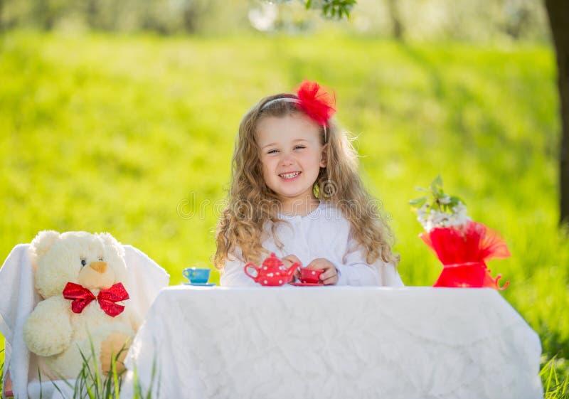Child in the garden stock photo