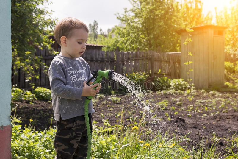 Child in the garden watering flowers royalty free stock photography