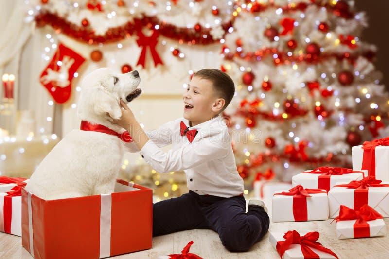 Child Getting Christmas Dog Present, Happy Kid Boy, Xmas Tree. Child Getting Christmas Dog Present, Happy Kid Boy under Xmas Tree with White Puppy stock photography