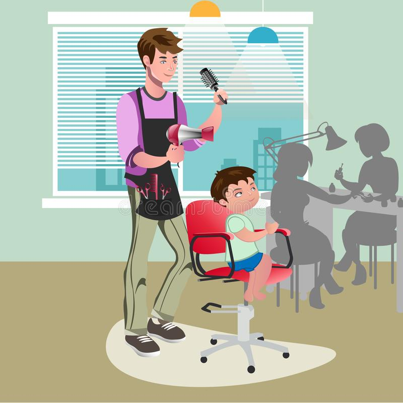 Child getting a haircut at hairdresser royalty free illustration