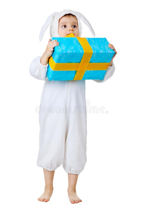 Download A Child With A Gift. The Costume A White Rabbit. Stock Photography - Image: 25326612