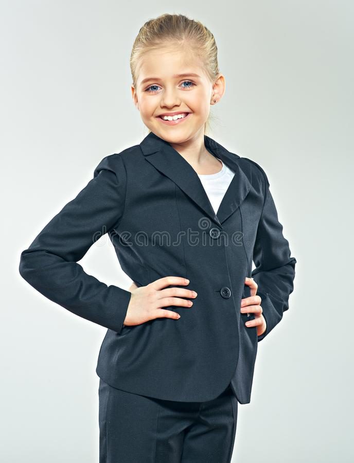 Child gir dressed black business suit stock photo