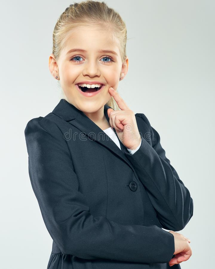 Child gir dressed black business suit royalty free stock photography