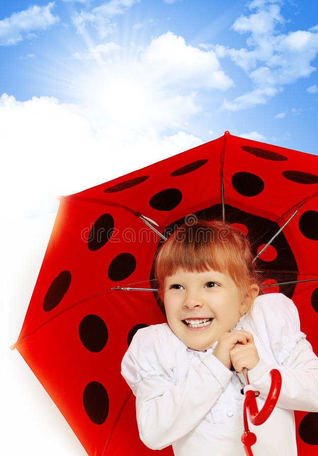 Child girl. Holding red umbrella stock photos
