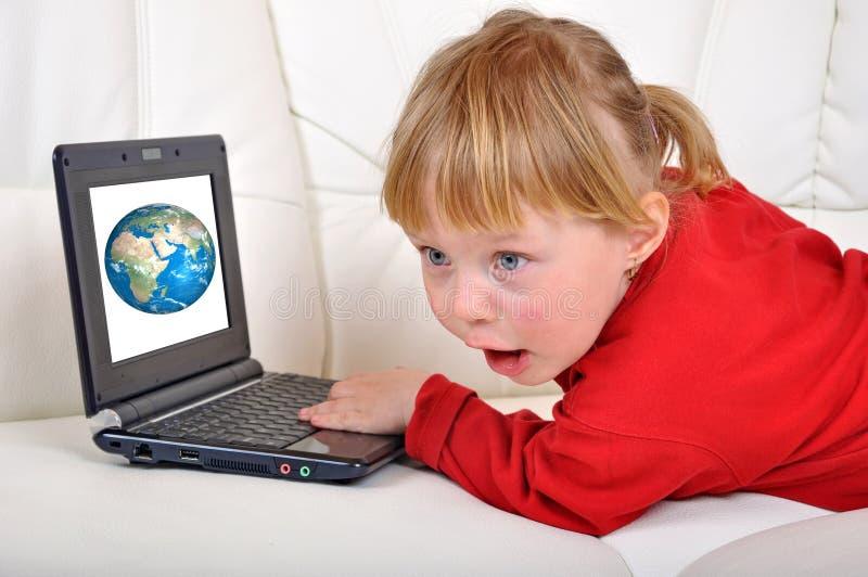 Child girl is amazed stock photography