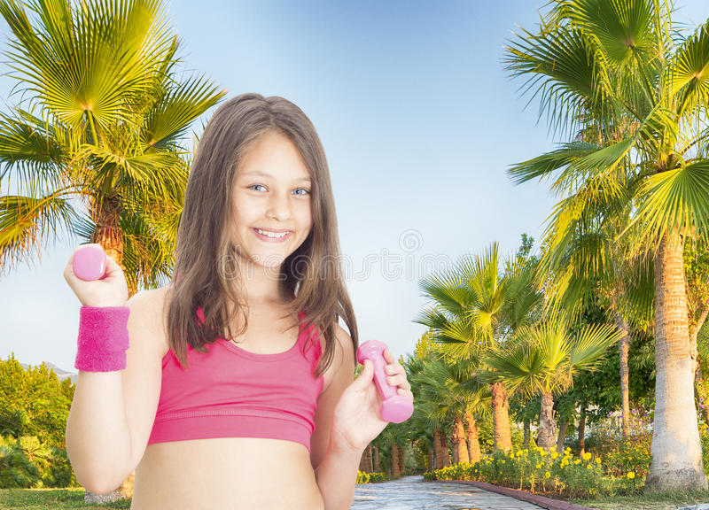 Child girl athlete stock images