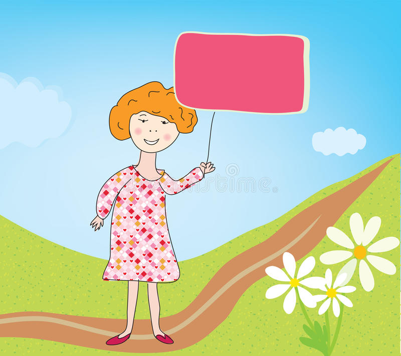 Child Girl With Banner For Text Stock Images