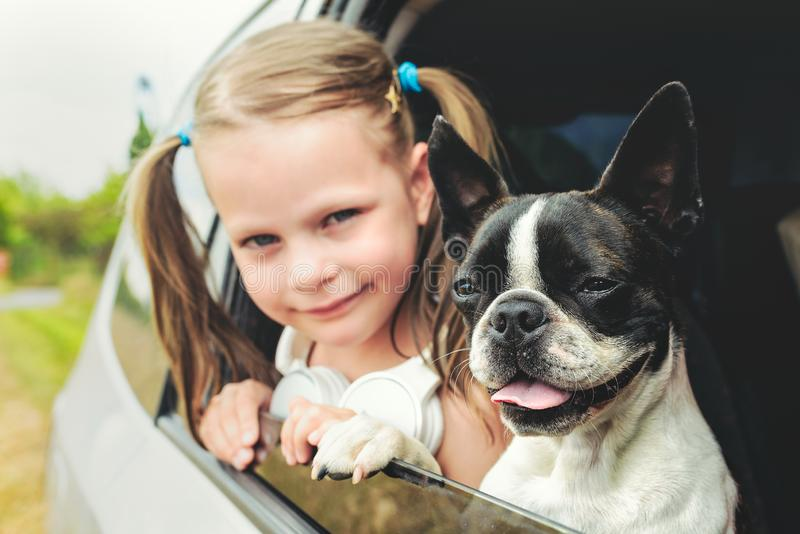 Child girl and dog - terrier - looking out the open car window royalty free stock images