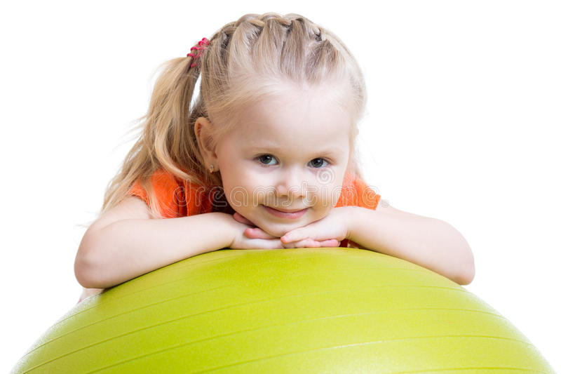Child girl doing fitness exercise with fitness royalty free stock image