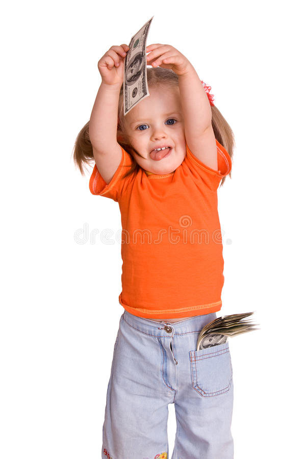 Child Girl With Dollar Banknote. Royalty Free Stock Photo