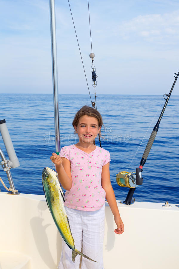 Child girl fishing in boat with mahi mahi dorado fish for Little girl fishing pole