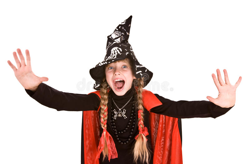 Child girl Halloween witch with hand stop. Child girl Halloween witch in black hat and dress with hand stop.Isolated royalty free stock photos