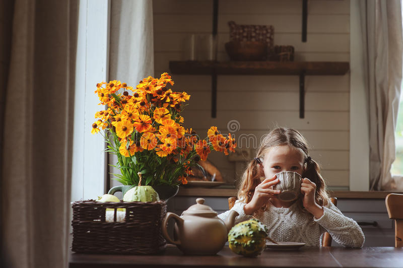 Child girl having breakfast at home in autumn morning. Real life cozy modern interior in country house stock photo