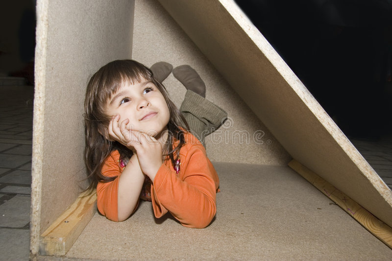 Download Child Girl Hiding In Wooden Box, Dreams Alone Royalty Free Stock Image - Image: 5322186